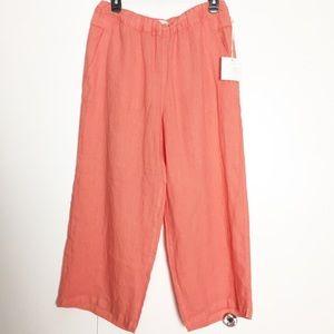 Cynthia Rowley Linen Wide Leg Cropped Pants Sz M